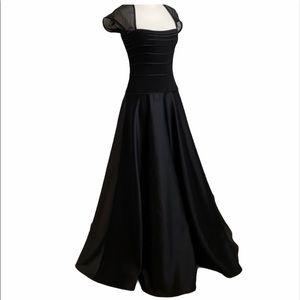 Vintage Tadashi Gown Black Illusion Sleeves & Back